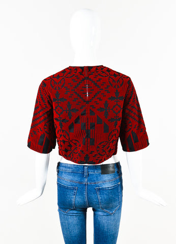 Alexander McQueen Black Red Cotton Velvet Boxy Cropped Sleeve Crop Top Back