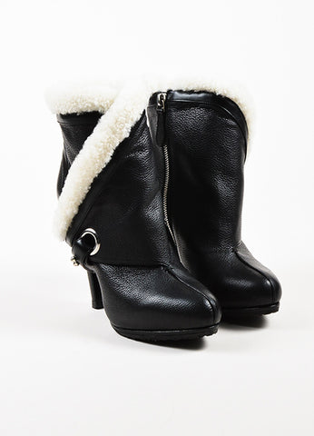 Alexander McQueen Black and White Leather Shearling Trim Heeled Boots Frontview