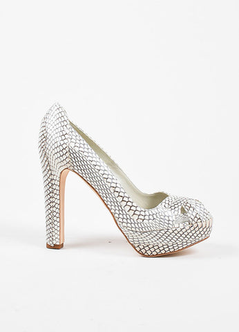Alexander McQueen Cream and Grey Python Block High Heel Peep Toe Pumps Sideview