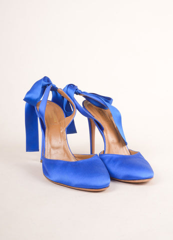 Aquazzura Blue Satin Slingback Bow Closed Toe Pumps Frontview