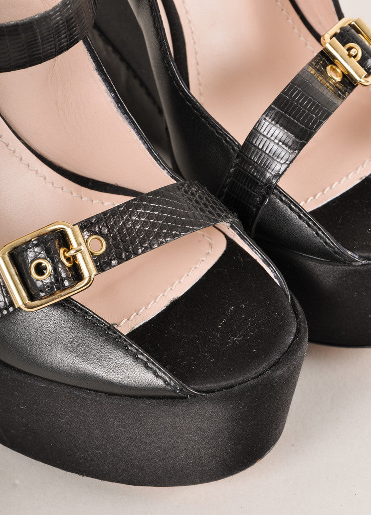 Baldan Black and Gold Toned Triple Buckled Strap Leather and Satin Wedges Detail