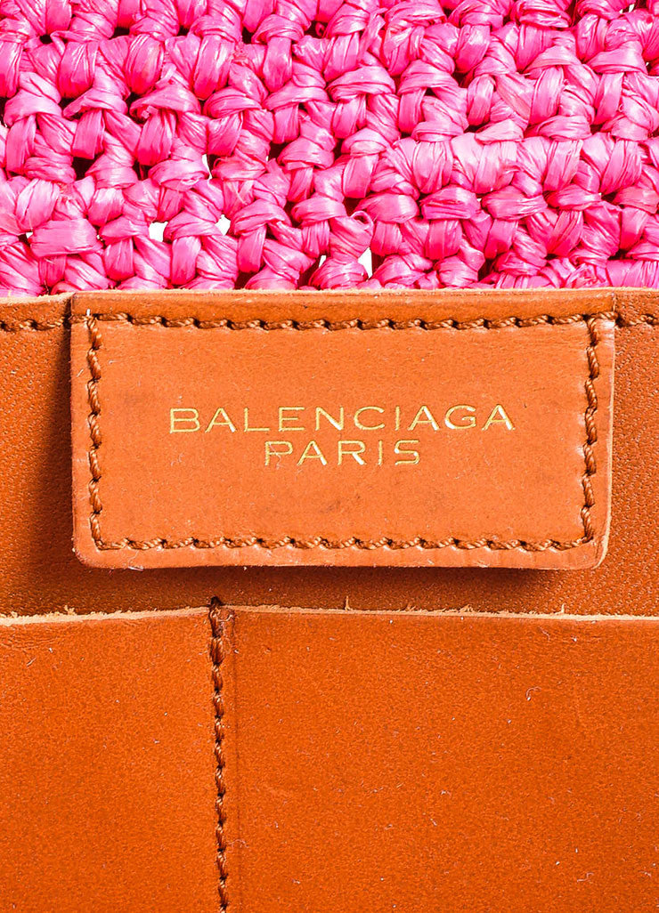 Hot Pink Balenciaga Raffia Whip Stitched Handle Tote Bag Brand