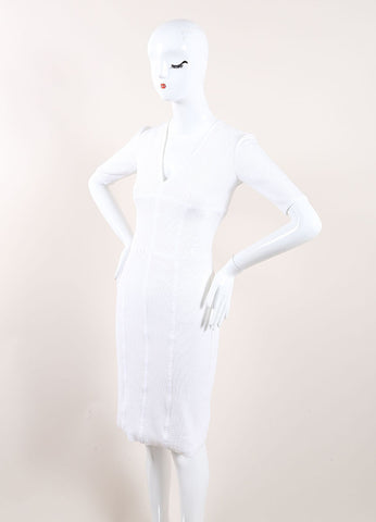 Burberry White Mesh Net Jersey Knit Sporty Crop Sleeve Dress Sideview