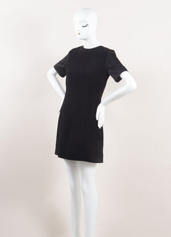 Celine Black Satin Sleeve Shift Dress Sideview