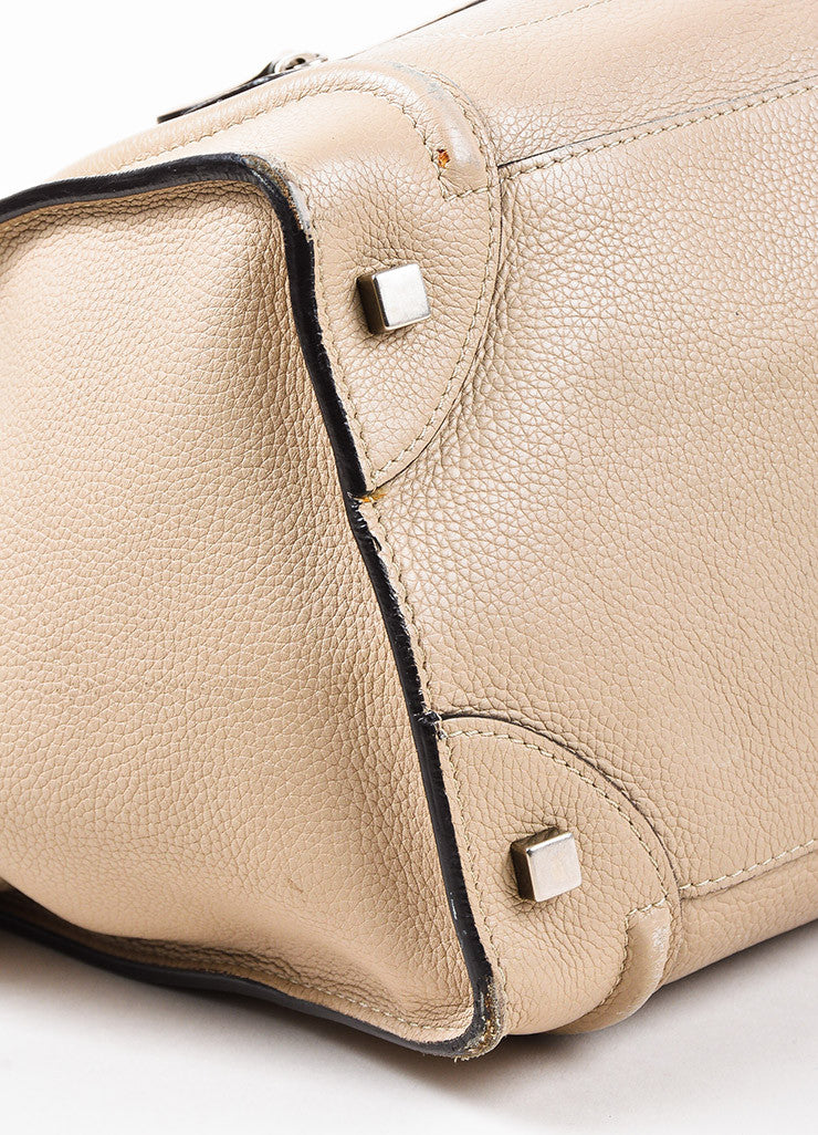 "Celine Taupe Grain Leather Top Handle ""Mini Luggage"" Tote Bag Detail"