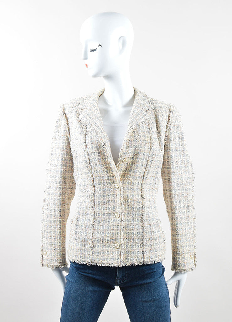 Chanel Pastel Multicolor Cotton Silk Tweed Fringe Blazer Frontview