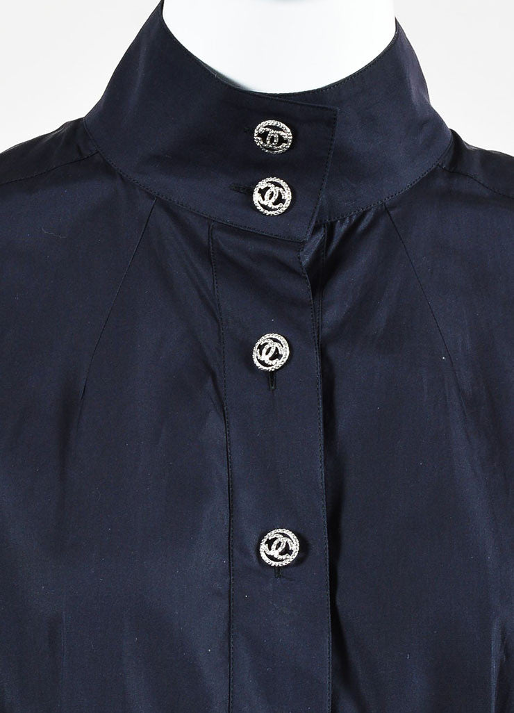 Navy Cotton 'CC' Button Stand Collar Puff Sleeve Blouse Detail