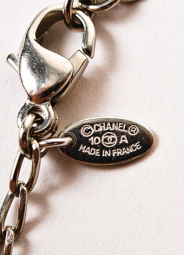 Chanel Silver Toned White Black Faux Pearl Crystal Station Strand Necklace brand