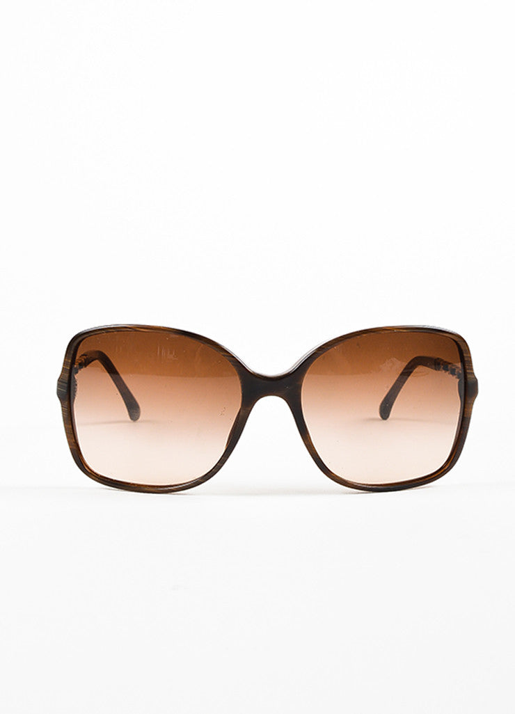 "Chanel Brown and Gold Toned Acetate Lambskin ""Square Chain"" Sunglasses Frontview"