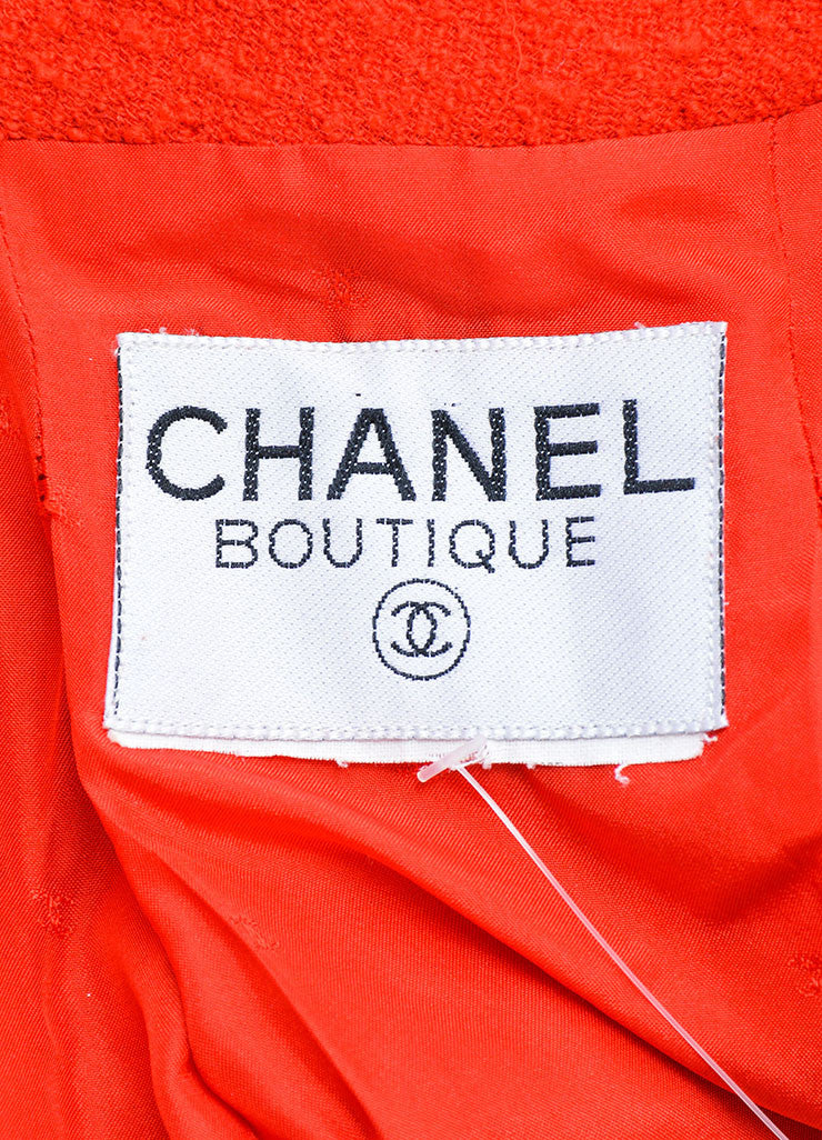 "Chanel Red Boucle ""CC"" Logo Button Cropped Blazer Brand"