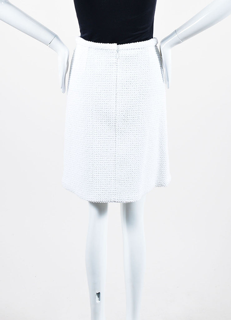 White Chanel Cotton Blend Boucle Slit A-Line Skirt Backview