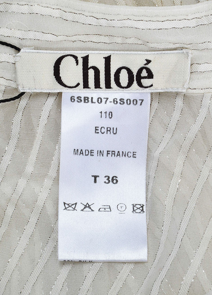 Chloe Cream and Silver Silk Striped Sheer Long Sleeve Button Up Blouse Brand