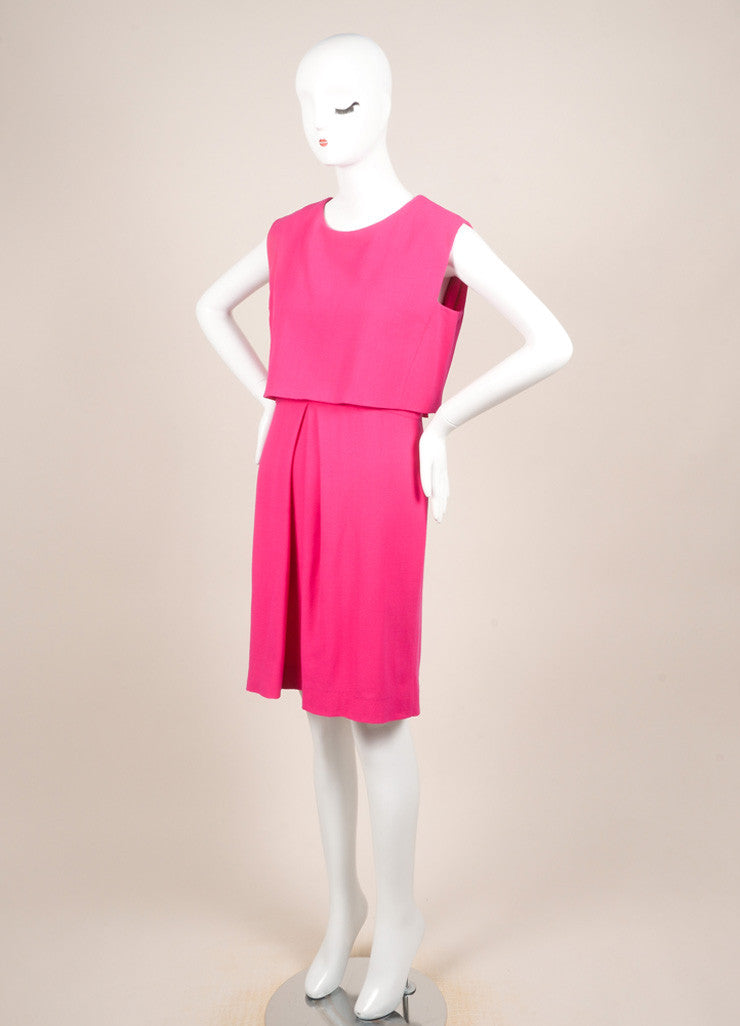 Christian Dior Fuchsia Wool Two Layer Sleeveless Dress Sideview