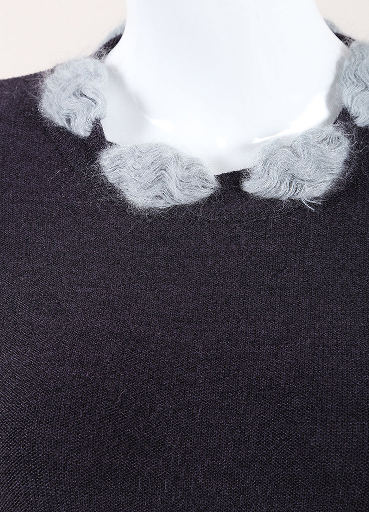 Christian Dior Grey and Light Blue Wool Blend Pom Pom Long Sleeve Sweater Detail