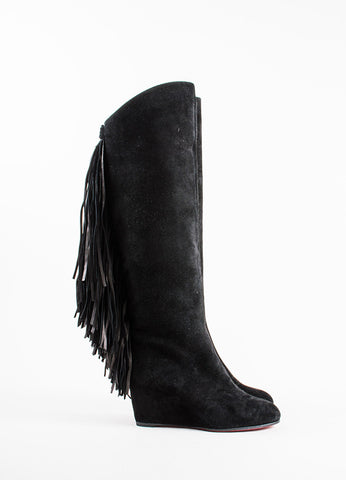 "Christian Louboutin Black Suede Fringe ""Pouliche 70"" Knee High Wedge Boots Sideview"