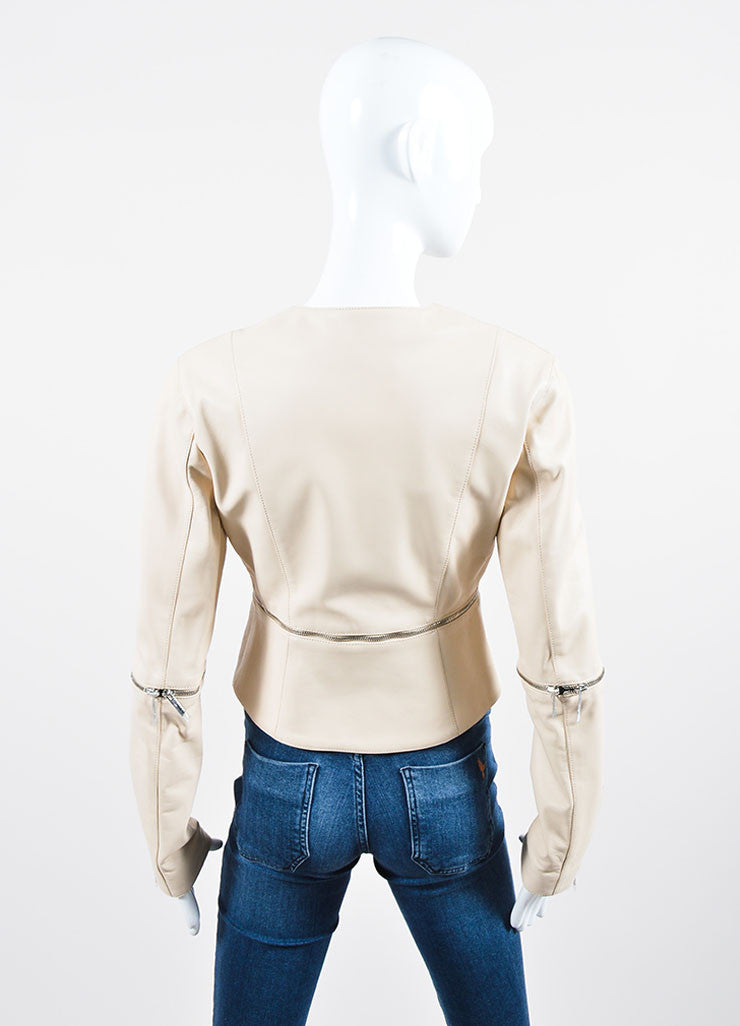 Cream Leather Christopher Kane Zip Off Cropped Jacket Back