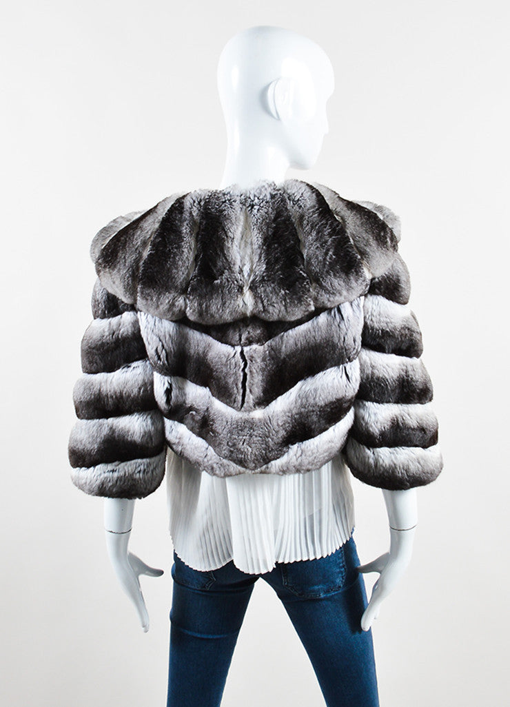 Dennis Basso Black and White Chinchilla Fur Crop Sleeve Shrug Jacket Backview