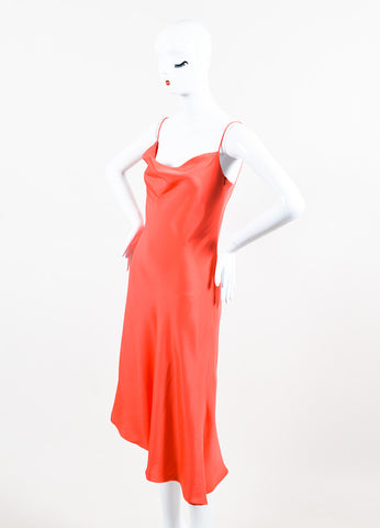 Enrique Martinez Coral Silk Spaghetti Strap Cocktail Dress Sideview