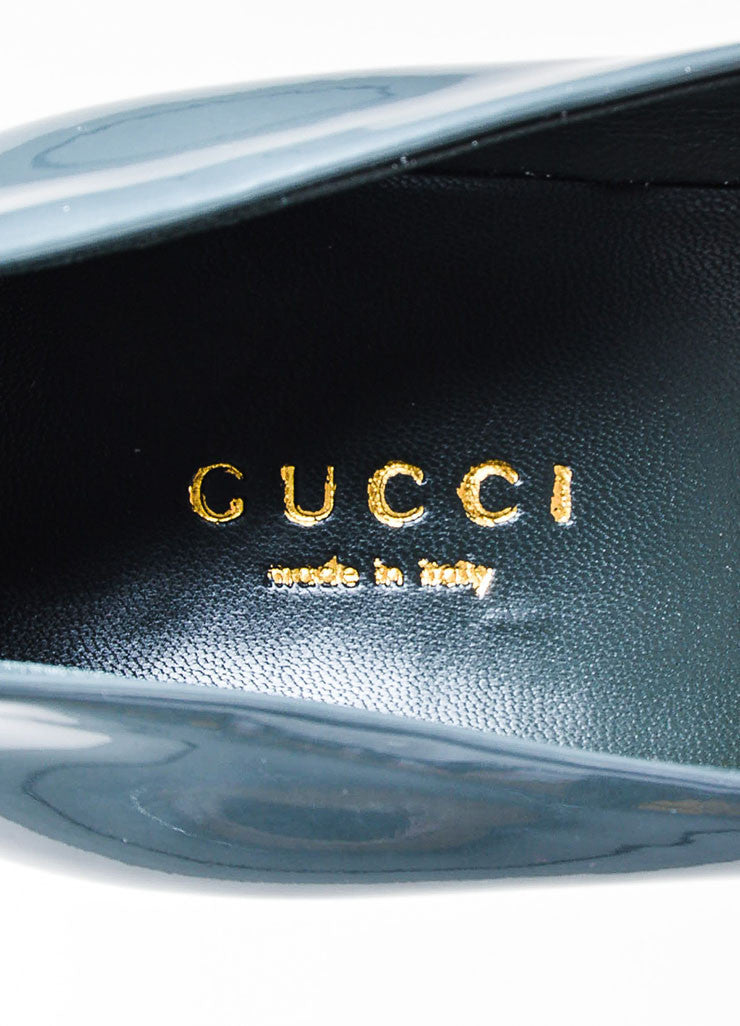 Grey Gucci Patent Leather 'GG' Round Toe Pumps Brand