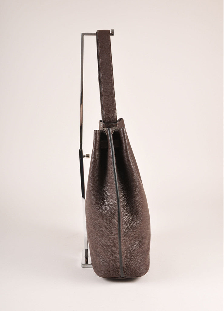 "Hermes Dark Brown Grained ""Togo"" Leather ""So Kelly 26"" Bucket Bag Sideview"