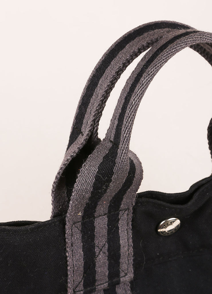 Hermes Black and Grey Canvas Striped Tote Bag Detail 2
