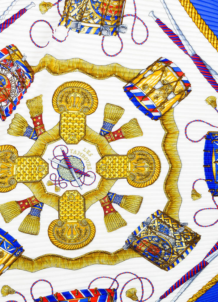 "Hermes Blue, White, and Gold Silk Drum Print ""Les Tambours"" Plisse Diamond Scarf Detail"