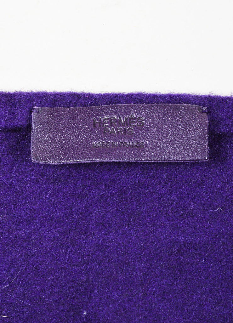Hermes Deep Purple Cashmere and Lambskin Leather Fringe Long Scarf Shawl Brand