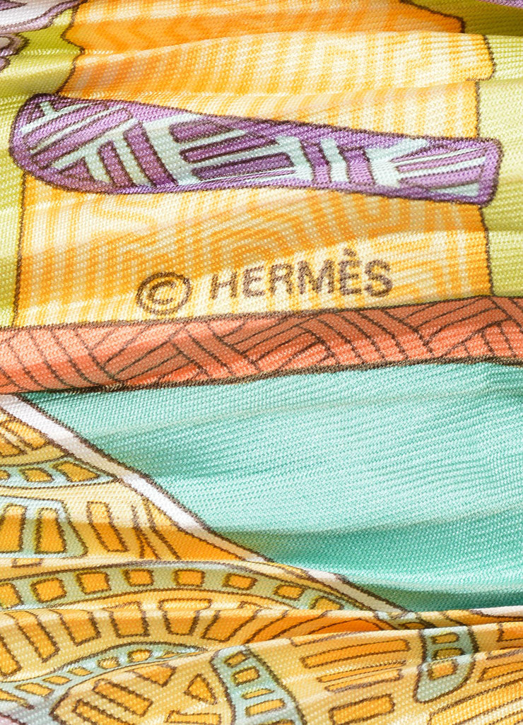 "Multicolor Silk Hermes Horse Print Pleated ""Art des Steppes"" Plisse Scarf Brand"