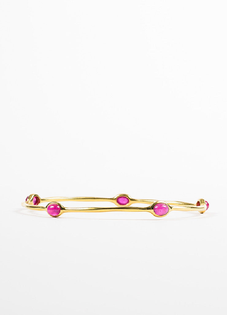 "Ippolita 18K Yellow Gold and Ruby Cabochon ""Rock Candy"" Bangle Bracelet Backview"