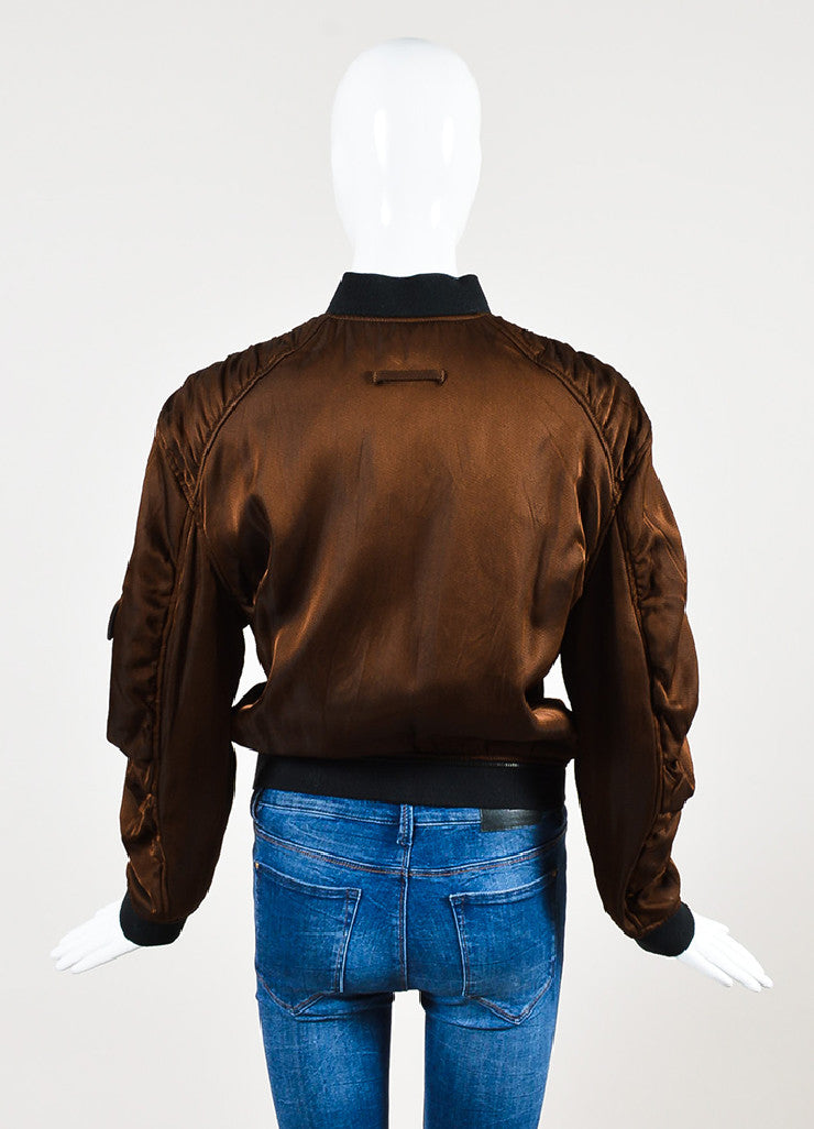 Jean Paul Gaultier Femme Brown Padded Long Sleeve Bomber Jacket Backview