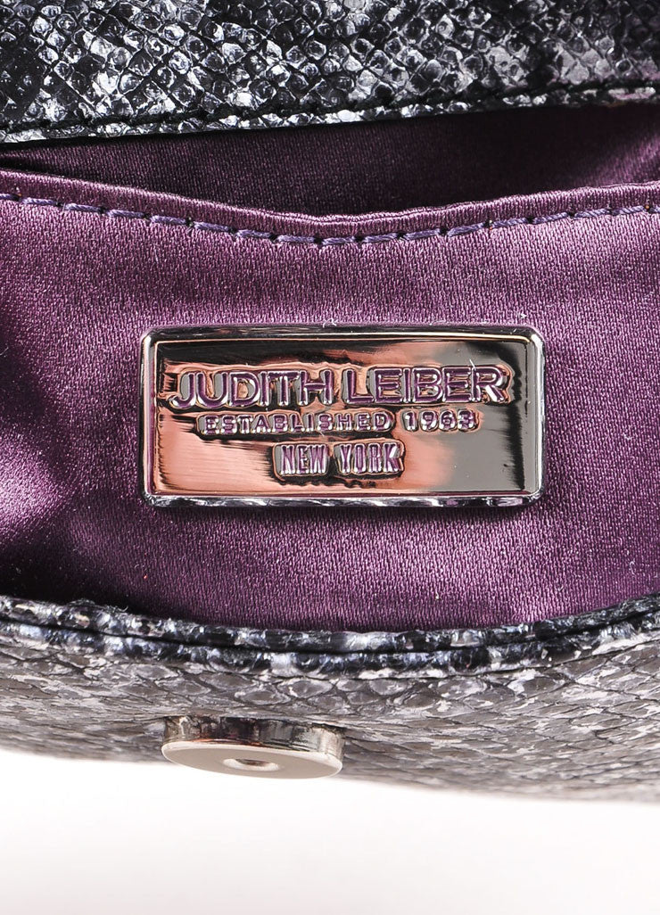 Judith Leiber Black and Silver Metallic Lizard Leather Chain Strap Clutch Bag Brand