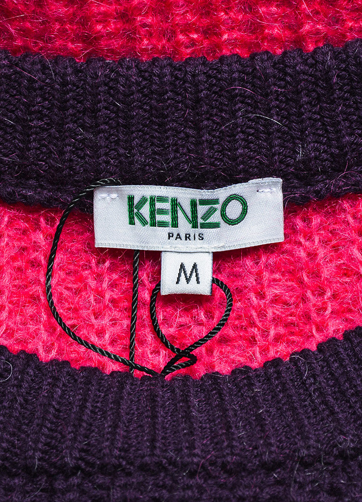 Grey, Purple, and Fuchsia Kenzo Mohair Blend Knit Pullover Sweater Brand