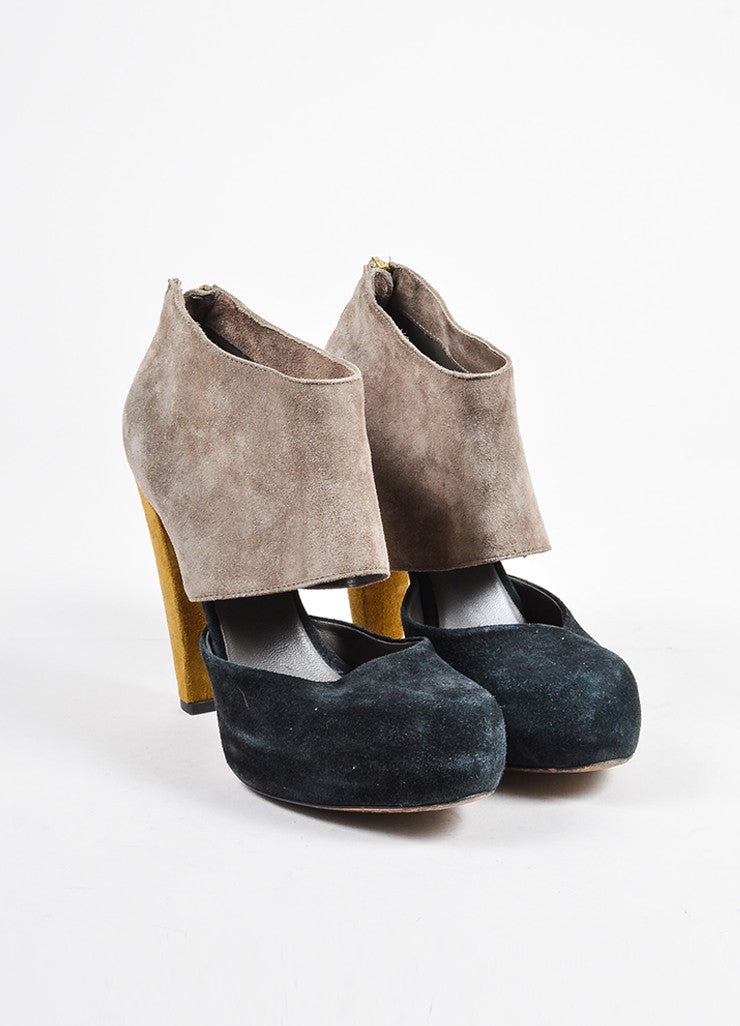 Loeffler Randall Black, Taupe, and Green Suede Color Block Heels Frontview