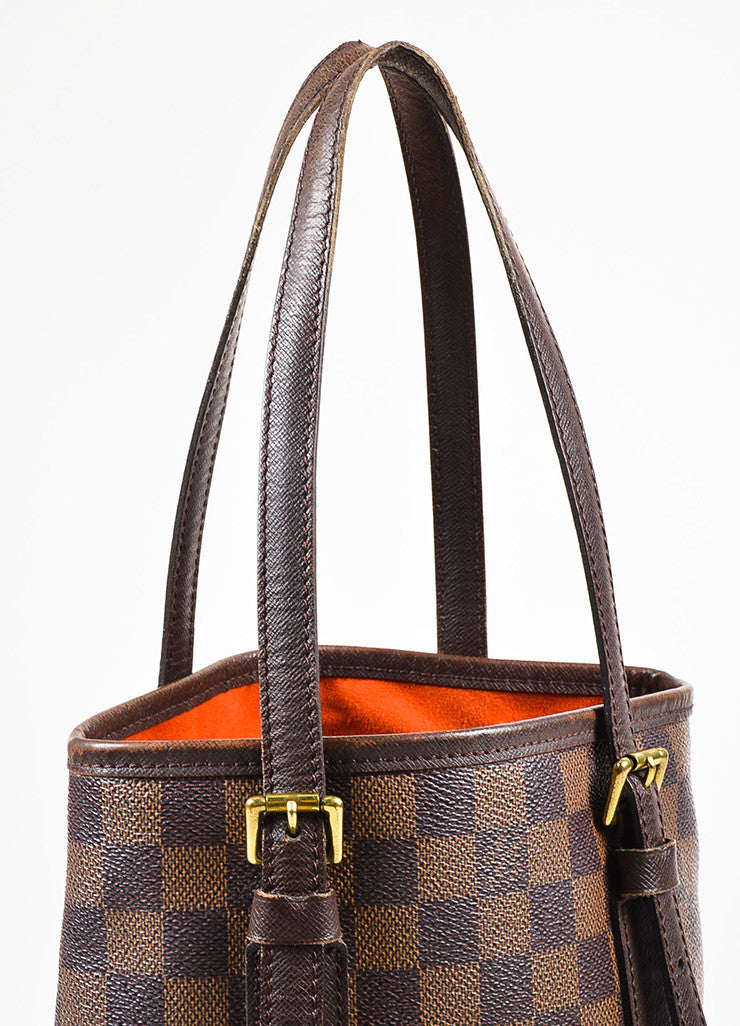 "Louis Vuitton Brown and Gold Toned ""Damier Ebene"" Coated Canvas ""Petit Bucket"" Bag Detail 2"