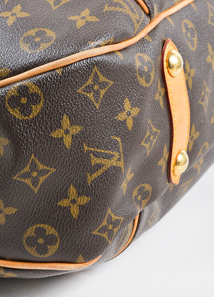 "Brown and Tan Louis Vuitton Coated Canvas and Leather Monogram ""Galliera PM"" Hobo Bag Detail"