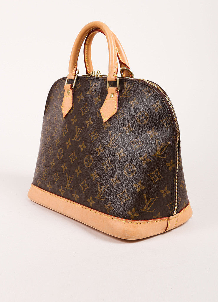 "Louis Vuitton Brown and Tan Coated Canvas Leather Monogram Logo ""Alma"" Handbag Sideview"