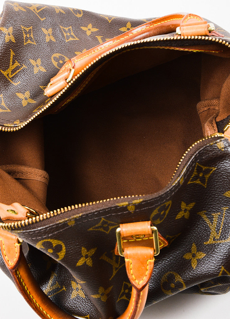 "Louis Vuitton Brown Tan Coated Canvas and Leather Monogram ""Speedy 30"" Bag Interior"