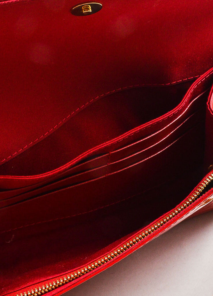 "Louis Vuitton Red Vernis Patent Leather Embossed Monogram ""Bel Air"" Chain Bag interior"