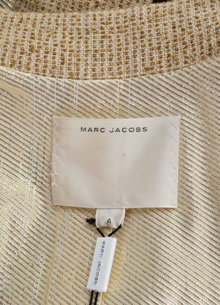 Marc Jacobs Gold Metallic Knit Sequin Palm Tree Jacket Brand