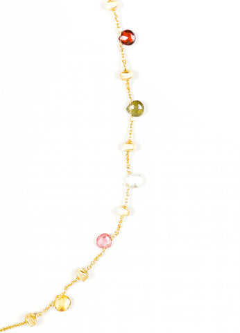 18K Gold Marco Bicego Multicolor Stone Beaded Necklace Detail