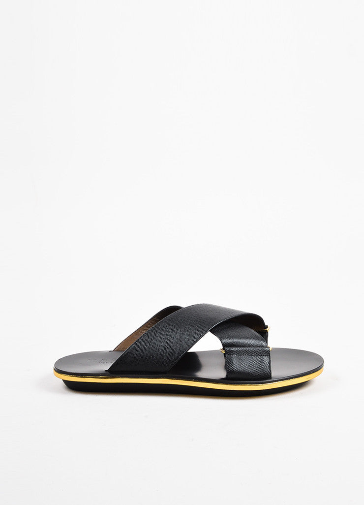 Marni Black and Metallic Gold Saffiano Leather Crisscross Flat Sandals Sideview