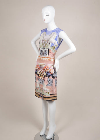 Mary Katrantzou New With Tags Blue, Pink, and Multicolor Floral Horse Print Dress Sideview