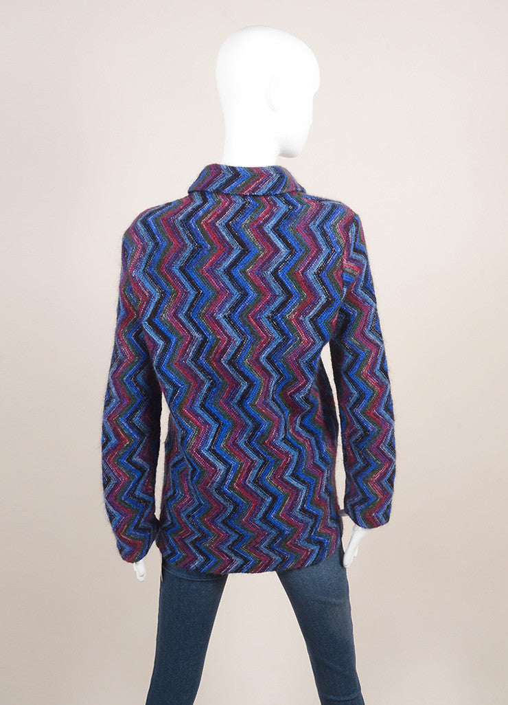 Missoni Blue Multicolor Wool Knit Chevron Long Sleeve Cardigan Sweater SZ 42 Backview
