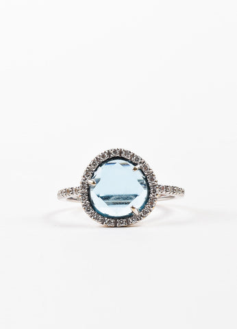 "Pomellato 18K White Gold, Blue Topaz, and Pave Diamond ""Culpo Di Fulmine"" Ring Frontview"