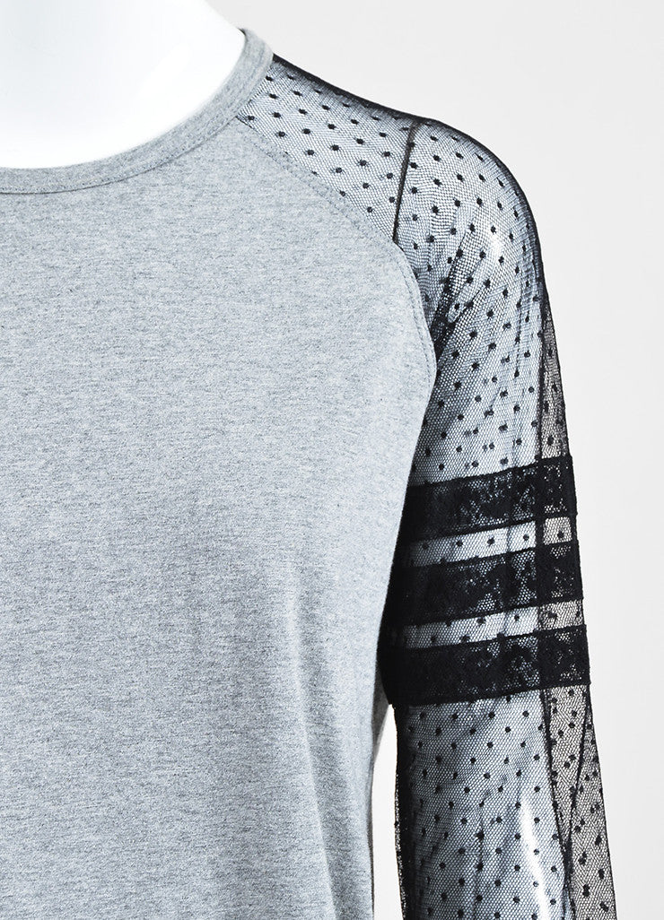 Red Valentino Grey and Black Sheer Sleeve T-Shirt Top Detail