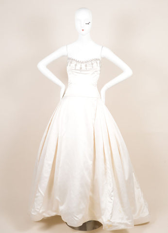 Reem Acra Cream Satin Tulle Crystal Embroidered Strapless Princess Wedding Gown Frontview