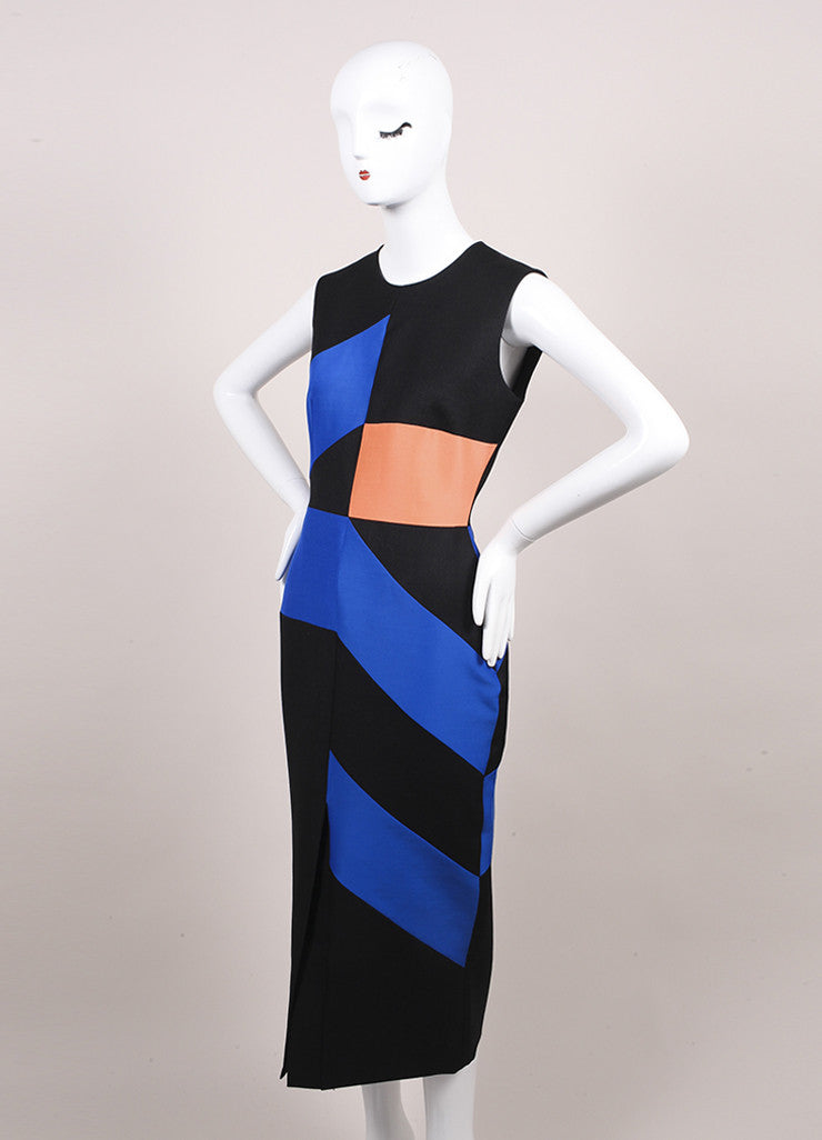 Roksanda Ilincic New Charcoal Grey, Blue, and Orange Midi Villare Dress Sideview