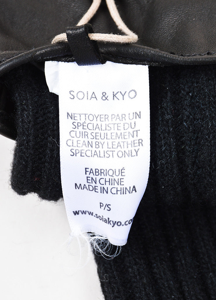 "Soia & Kyo Black Leather Wool Knit ""Carmel"" Gloves Brand"