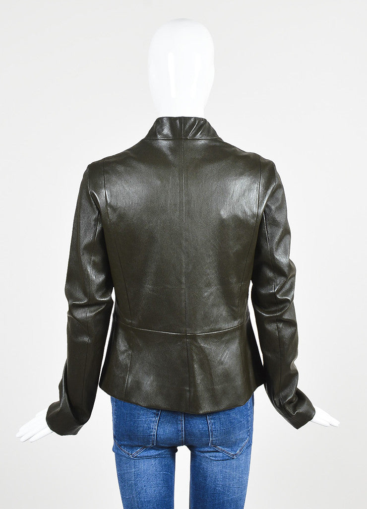 "The Row Dark Brown Leather ""Loden"" Collarless Jacket Backview"