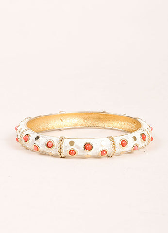 Boucher Gold Toned, White, and Coral Lucite Studded Bangle Bracelet Frontview